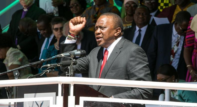 President Uhuru Kenyatta during his address at the 39th Independence Day celebrations in Namibia
