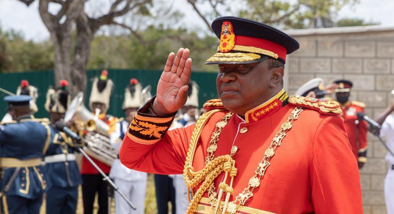 President Uhuru Kenyatta during a special trip to Manda Naval Base on September 23, 2021