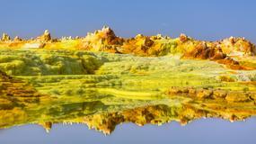Krajobraz jak z innej planety na Pustyni Danakilskej w Etiopii