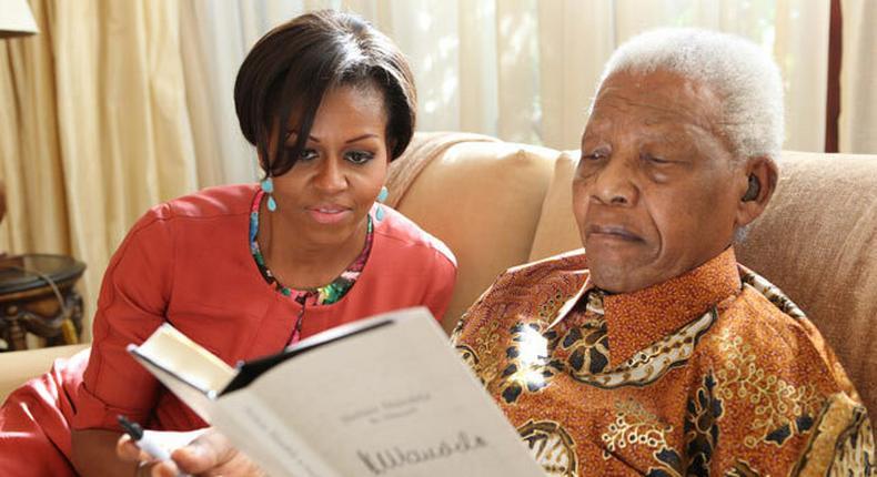 Michelle Obama With Nelson Mandela. (ABC News )