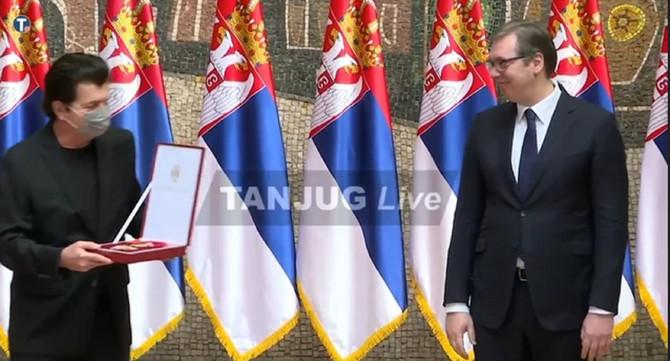 Dodela Sretenjskih priznanja: Aleksandar Vučić i Momčilo Bajagić Bajaga