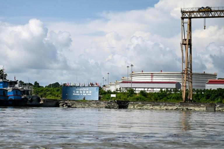 A Chinese-owned oil refinery plant on Made Island off Kyaukphyu, Rakhine State in Myanmar