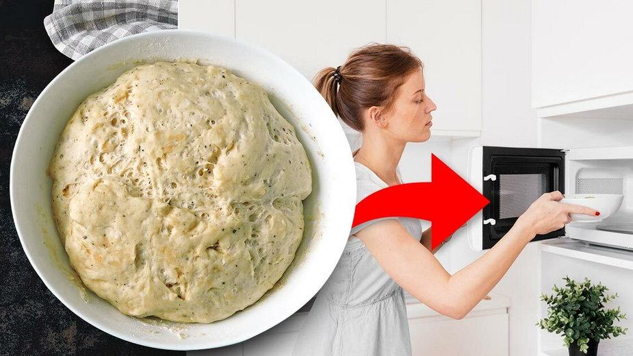 Włóż ciasto drożdżowe do mikrofalówki do wyrośnięcia