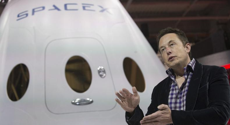 SpaceX CEO Elon Musk unveils the Dragon V2 spacecraft in Hawthorne, California.
