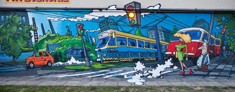 """Mural - """"1977"""" - na osiedlu Handlowym, stworzony przez Łukasza Lendę."""
