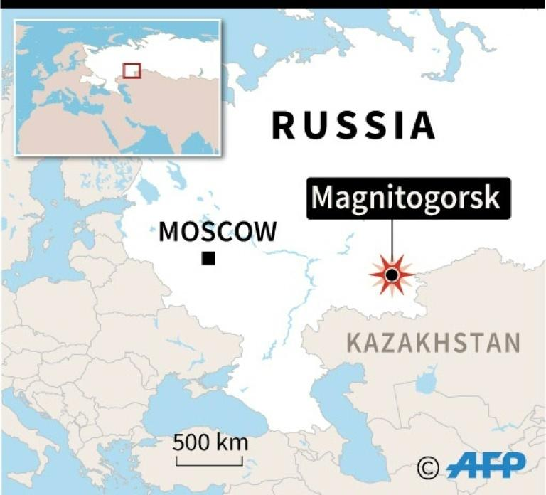 Map locating the city of Magnitogorsk in Russia's Ural mountains a deadly gas explosion tore through an apartment building