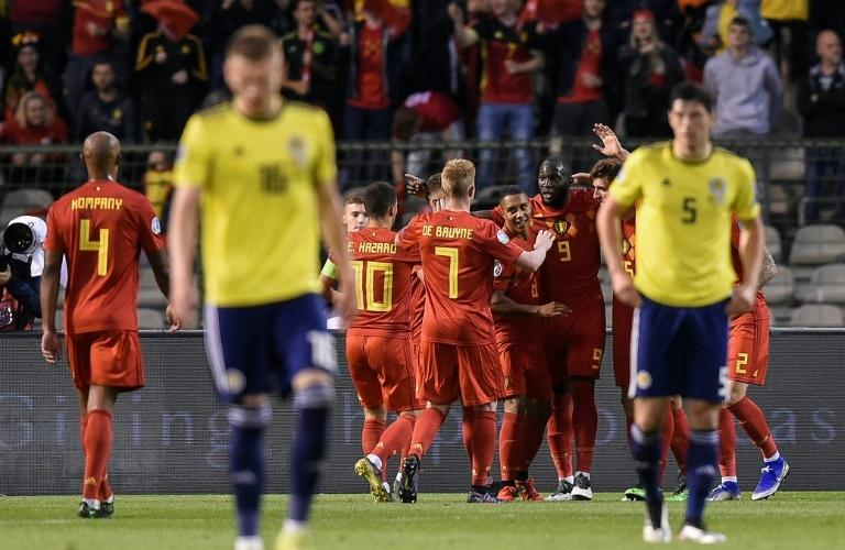 Romelu Lukaku struck twice to help Belgium see off Scotland
