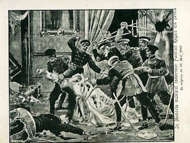 U Majskom prevratu ubijenu su kralj Aleksandr Obrenović i njegova supruga kraljica Draga