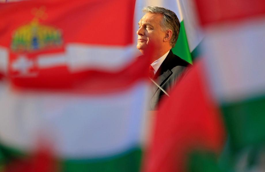 Hungarian Prime Minister Viktor Orban speaks during his campaign closing rally in Szekesfehervar
