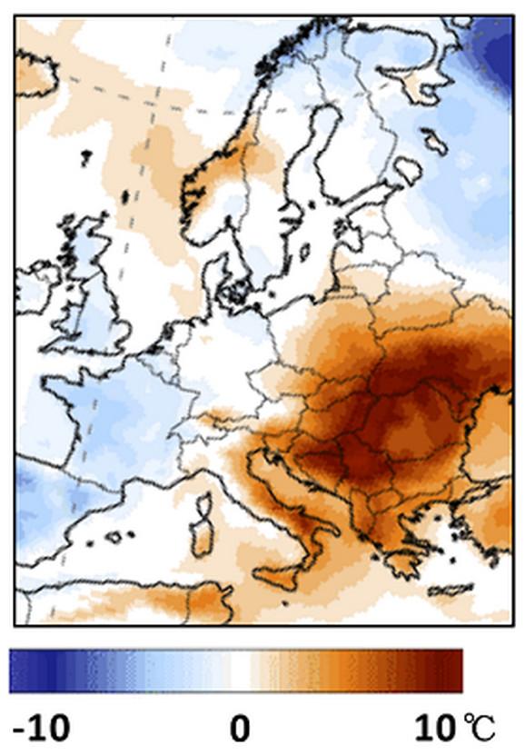 Odstupanje temperature (22. jul) od očekivanih vrednosti tokom toplotnog talasa 2007. odnosno dva dana pre nego je u Srbiji osmotren apsolutni temperaturni maksimum svih vremena.