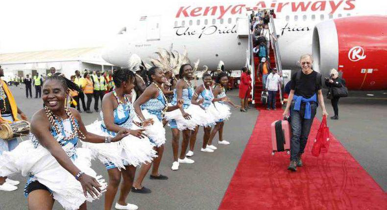Traditional dancers entertain travellers at the Jomo Kenyatta International Airport upon arrival aboard a Kenya Airways aircraft from New York in 2018.