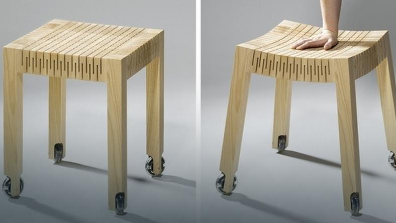 Wygodne, elastyczne, drewniane stołki