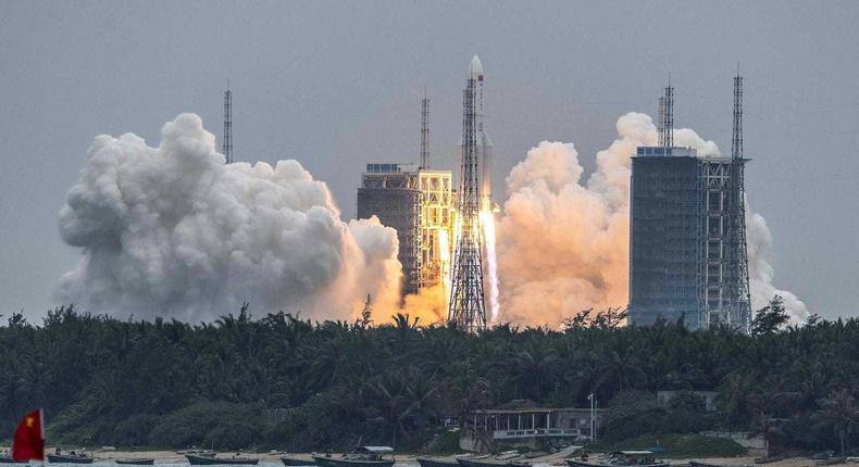 The Long March 5B rocket carrying China's Tianhe space station core module launched from the Wenchang Space Launch Center in China on April 29.