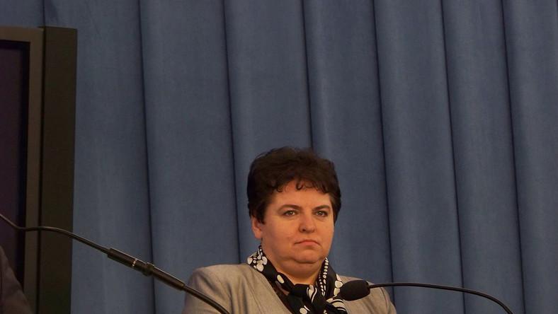 Marzena Wróbel w czasie konferencji prasowej w Sejmie, fot. Patryk Matyjaszczyk, licencja CC BY-SA 3.0
