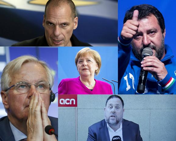 Mogući kandidati koji nisu učestvovali u debati: Janis Varufakis (gore), Mateo Salvini (D), Mišel Barnijer (L), Angela Merkel (C) i Oriol Hunkveras (dole)