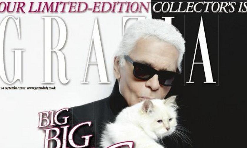 Karl Lagerfeld z kotem na okładce magazyny Grazia