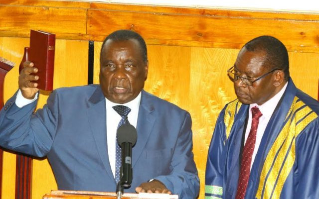 Kisii County Assembly Speaker David Kombo when he took the oath of office