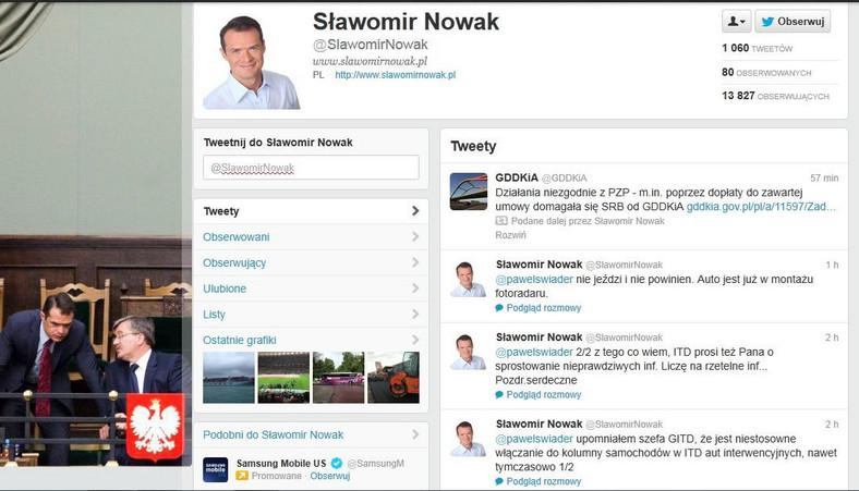 Wpisy ministra Sławomira Nowaka na Twitterze