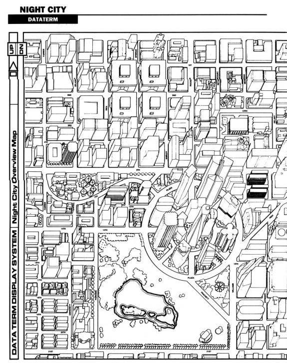 Mapa Night City - Ρ.  Tolsorian Games
