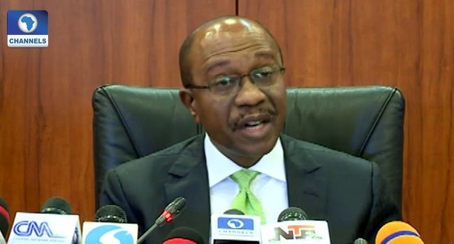 Godwin Emefiele, CBN governor, speaking at the end of the 270th meeting of the Monetary Policy Committee (MPC) at the apex bank's headquarters in Abuja. (Twitter/Channels Television)