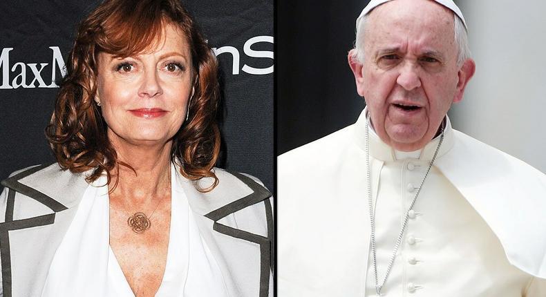 Susan Sarandon and Pope Francis