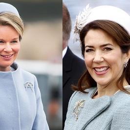 Księżniczka Maria i królowa Matylda razem w niemal identycznych kreacjach. Chyba nie były zadowolone…
