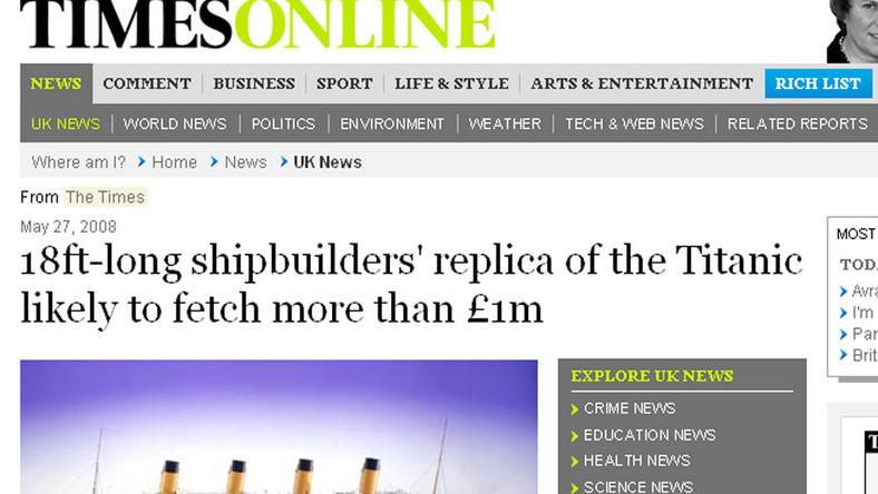 """Model """"Titanica"""" kosztuje prawie tyle, co prawdziwy statek"""