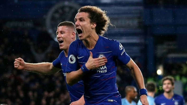 Chelsea defender David Luiz (right) celebrates his goal against Manchester City