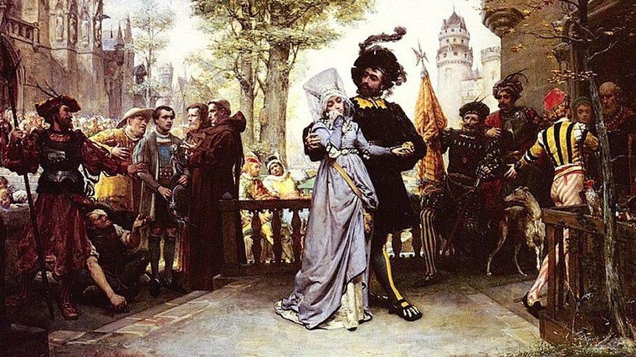 """Jules Garnir, """"Le droit du Seigneur"""" - Pan zabierający żonę służącemu dla własnej przyjemności"""
