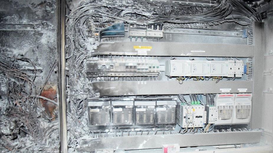Spalona rozdzielnia elektryczna w Gorzowie
