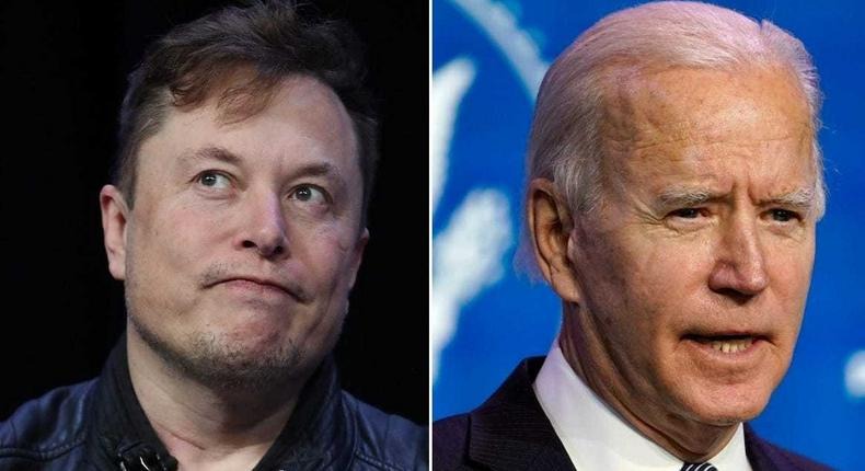 SpaceX CEO Elon Musk (left) and President Joe Biden.