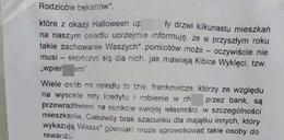 """""""Do rodziców bękartów"""". Wściekły lokator grozi dzieciom za Halloween"""