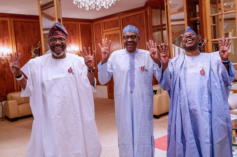 President Muhammadu Buhari has been consumed by his own re-election ambition that he thought it was a good idea to host an opposition governorship candidate, Akinlade (left), in the Presidential Villa while the Ogun State chapter of the APC was torn down the middle [Twitter/@BashirAhmaad]