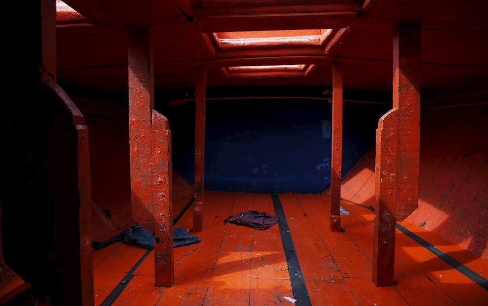 The hull on a boat that carried Rohingya migrants for three months is seen at Langkawi island