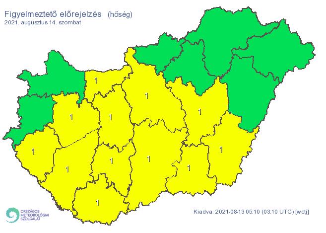 Több megyében is rekkenő hőség lesz szombaton, ki is adták az elsőfokú riasztást / Fotó: met.hu