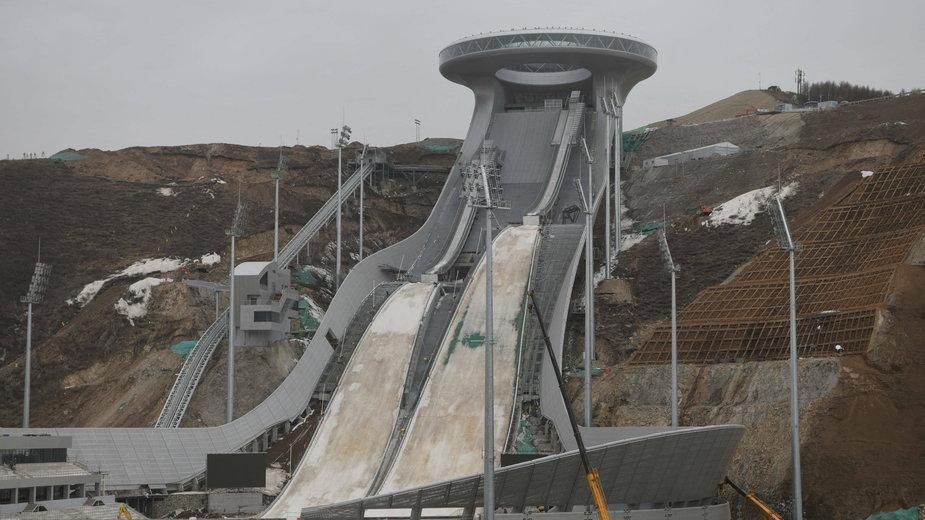 Kompleks skoczni narciarskich w Zhangjiakou, gdzie skoczkowie rywalizować będą o medale ZIO w Pekinie