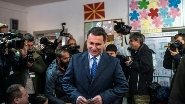 Macedonia's former prime minister and leader of the ruling VMRO DPMNE Nikola Gruevski arrives to cast his vote at a polling station in Skopje during a general election on December 11, 2016