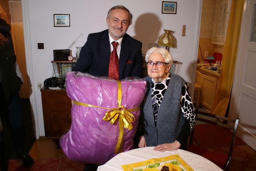 Prezydent Gdyni Wojciech Szczurek z panią Czesławą Bieś