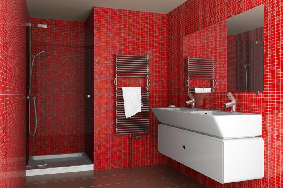 Lazienka W Czerwonym Kolorze Dom