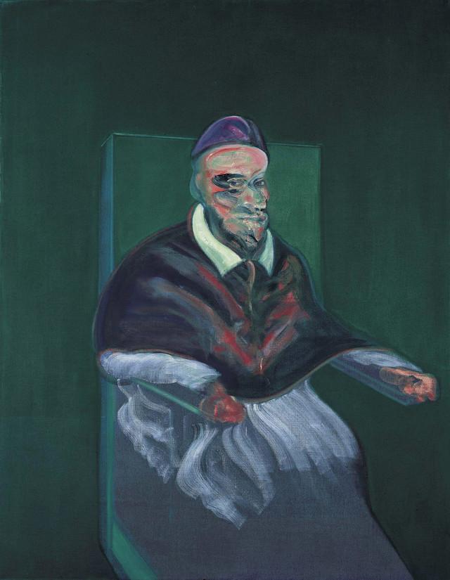 Bejkon je naslikao oko 50 verzija pape prema portretu Inoćentija X od Velaskeza. Ova je prodata 2006. za 5,2 miliona funti