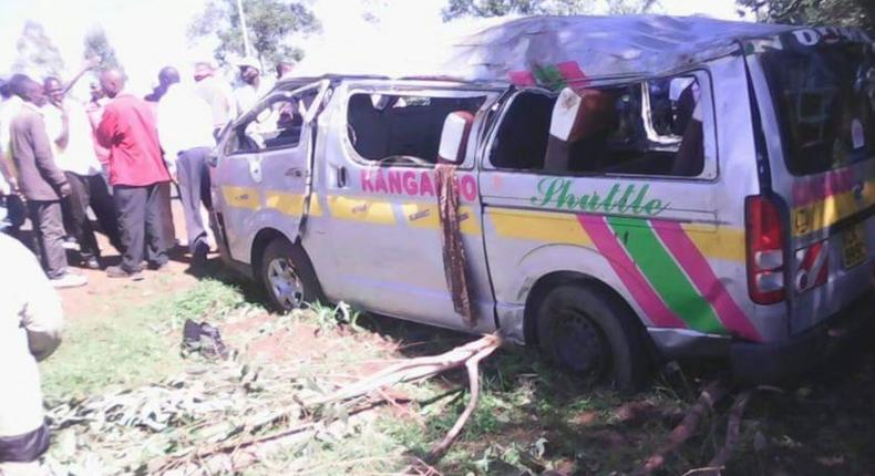 The matatu involved in an accident at Sirende, between Kitale town and Moi's Bridge.