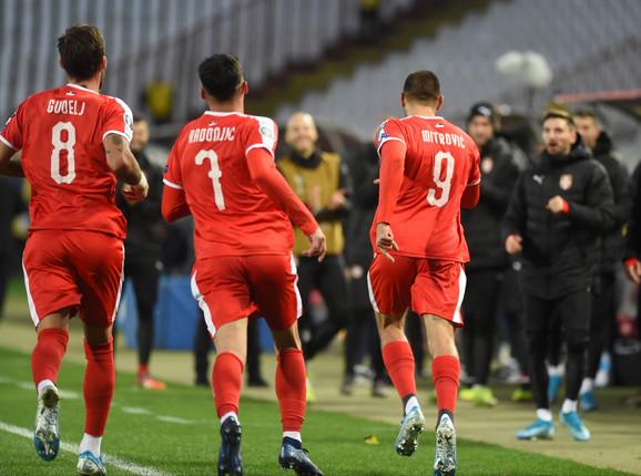 Fudbaleri Srbije na meču sa Ukrajinom