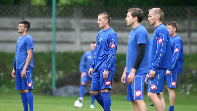 Piłkarze u Chorzów podczas treningu
