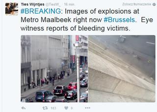 Seria eksplozji w Brukseli. Najpierw lotnisko teraz stacje metra