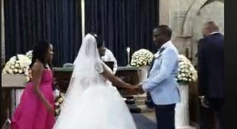 David Itumbi and DorisNthiga exchange vows on Friday morning.