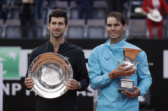 Novak Đoković i Rafael Nadal posle rimskog finala