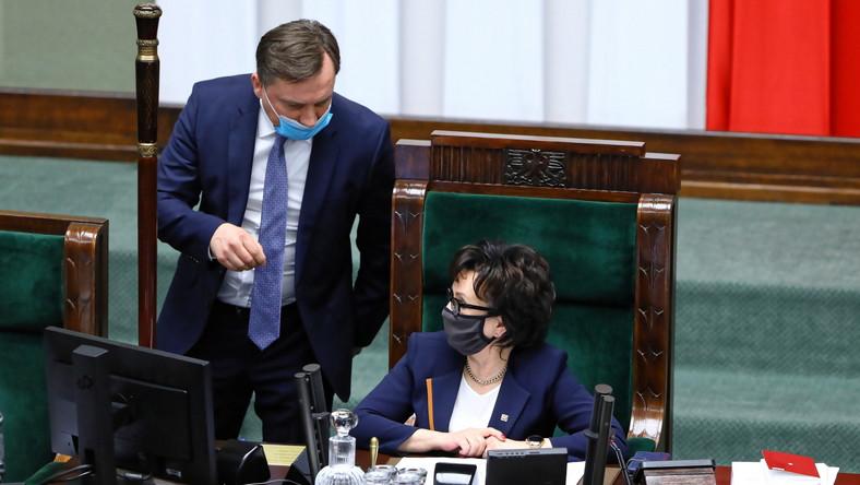 Marszałek Sejmu Elżbieta Witek i minister sprawiedliwości Zbigniew Ziobro