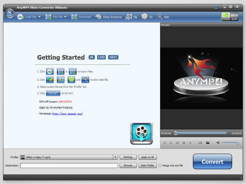 Główne okno programu do konwersji filmów - AnyMP4 Video Converter Ultimate