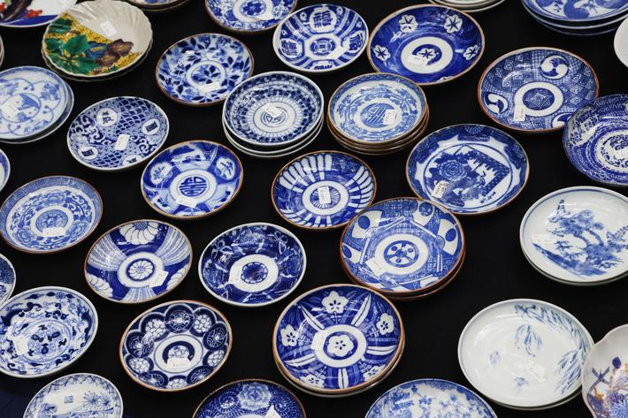 Pottery Display at the Oedo Monthly Antique Market at the Tokyo International Forum Building, Japan,