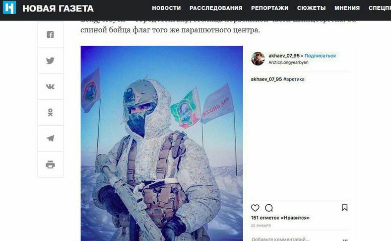 """Żołnierz Specnazu. Screen z """"Nowej Gaziety"""""""